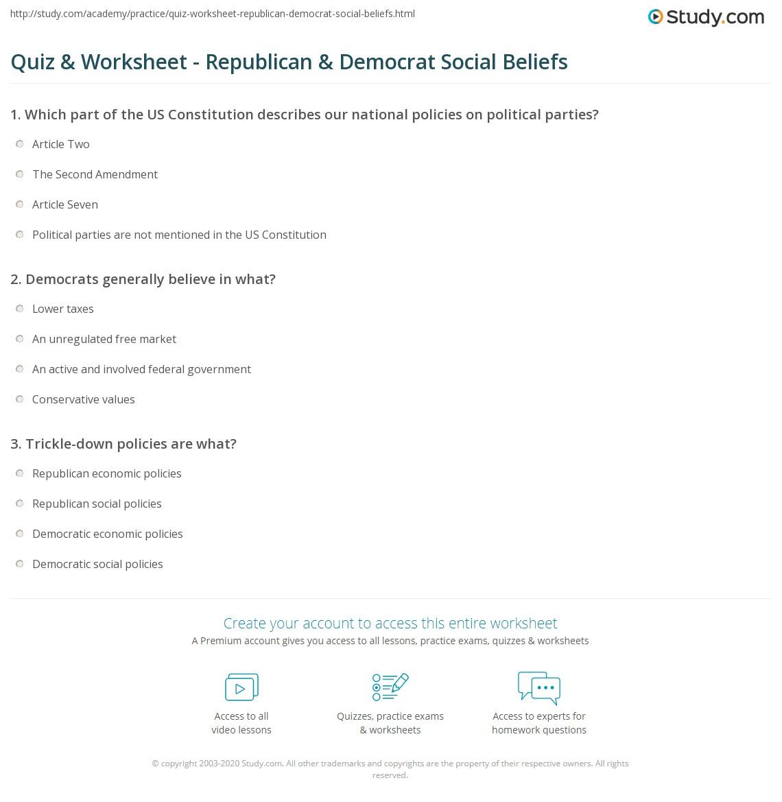 photograph relating to Democrat or Republican Quiz for Students Printable referred to as Quiz Worksheet - Republican Democrat Social Ideals