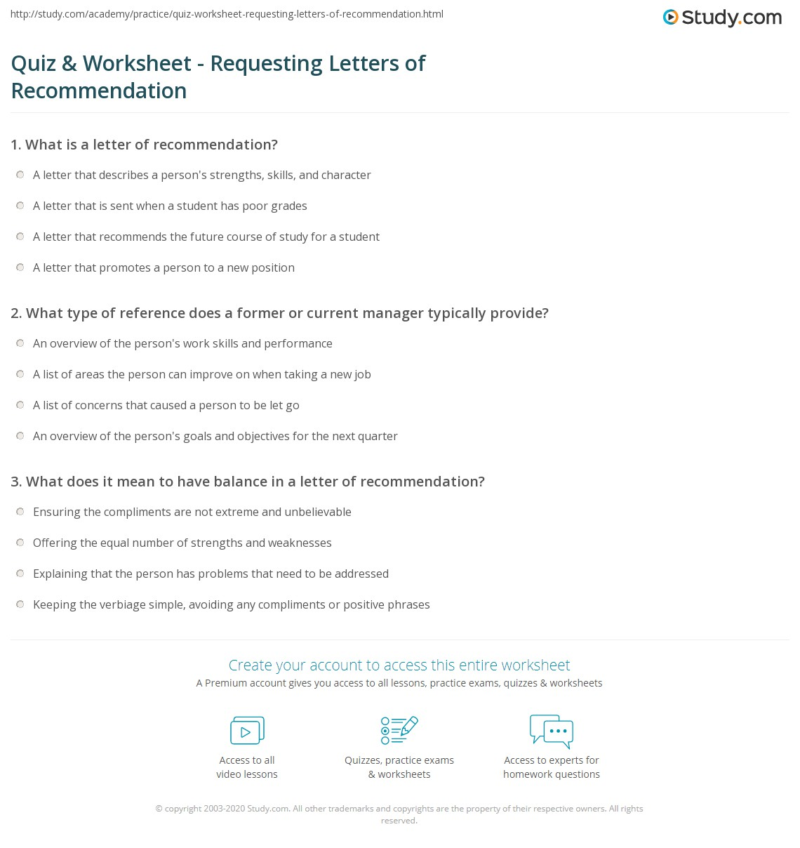 Quiz Worksheet Requesting Letters Of Recommendation Study
