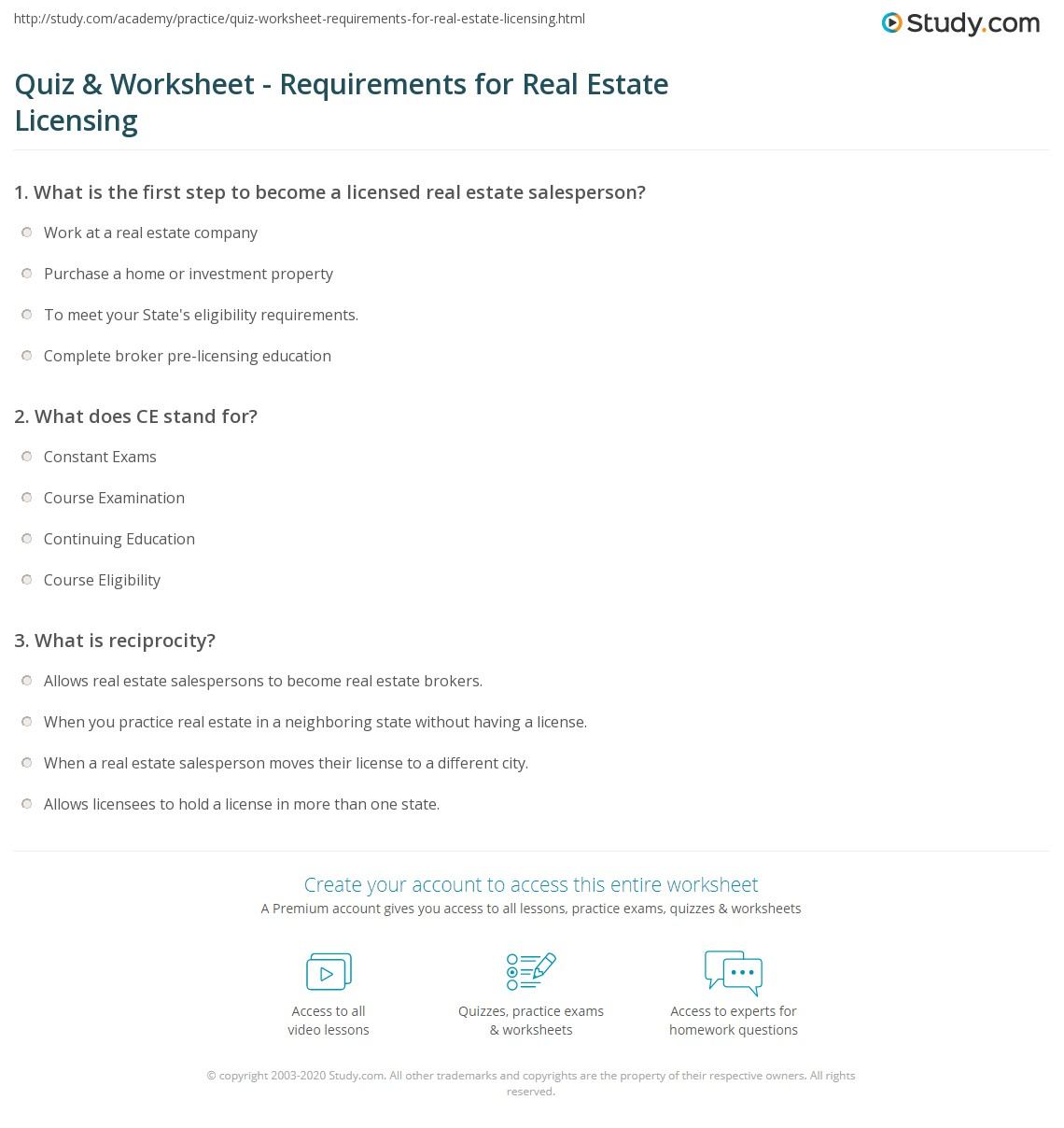 Quiz Worksheet Requirements For Real Estate Licensing Study Com