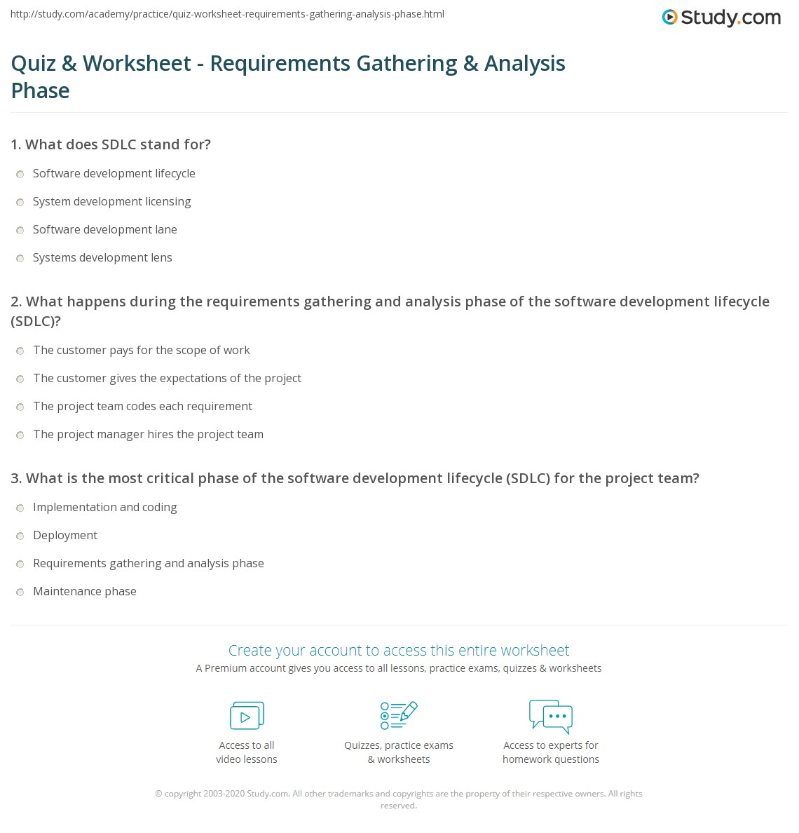 Quiz Worksheet Requirements Gathering Analysis Phase Study Com