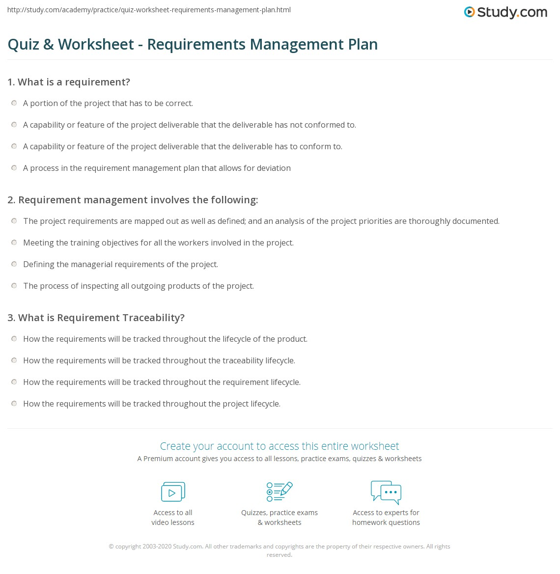 Quiz worksheet requirements management plan study print requirements management plan definition example worksheet 1betcityfo Images
