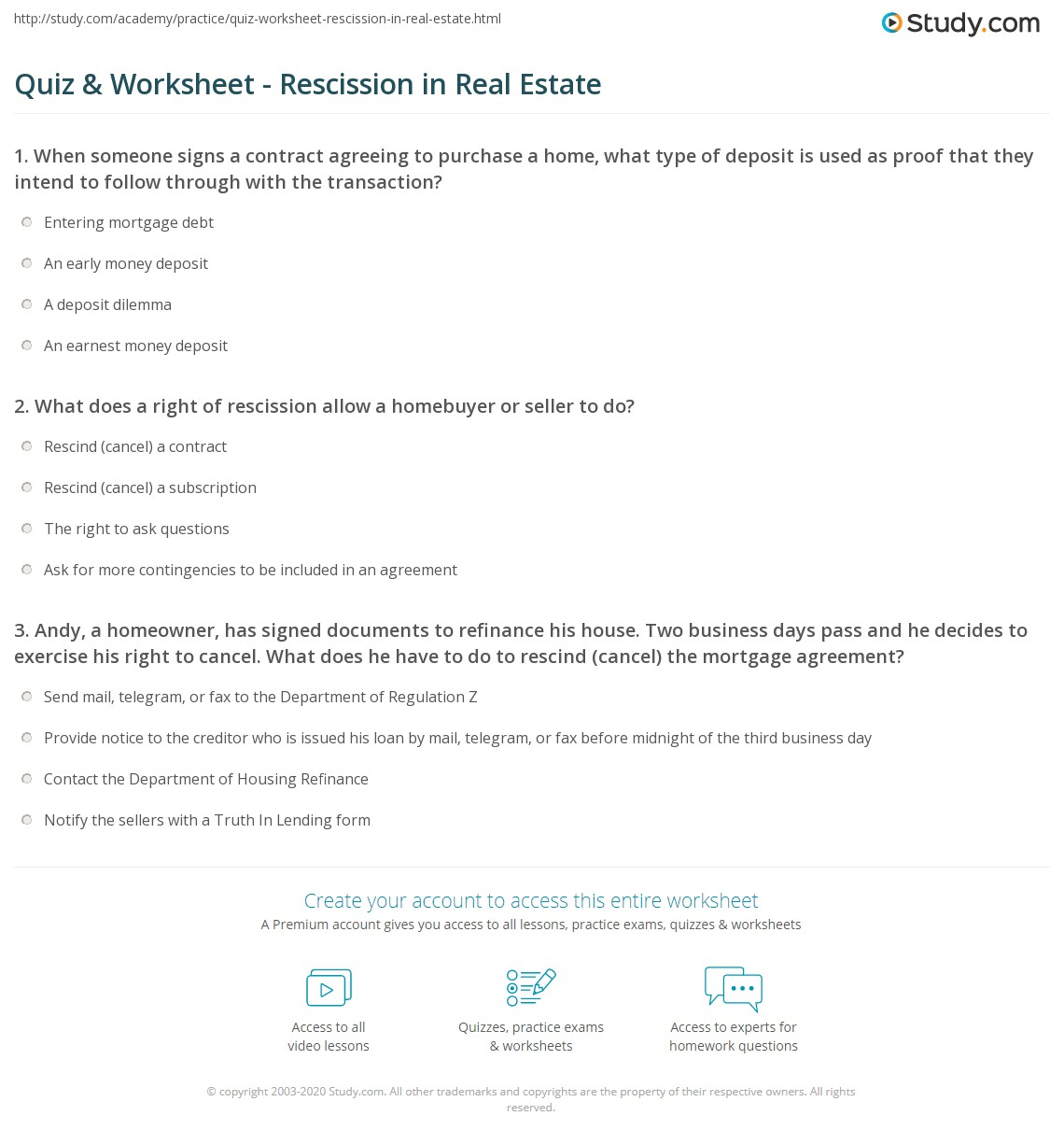 Quiz worksheet rescission in real estate study print what is right of rescission in real estate worksheet platinumwayz