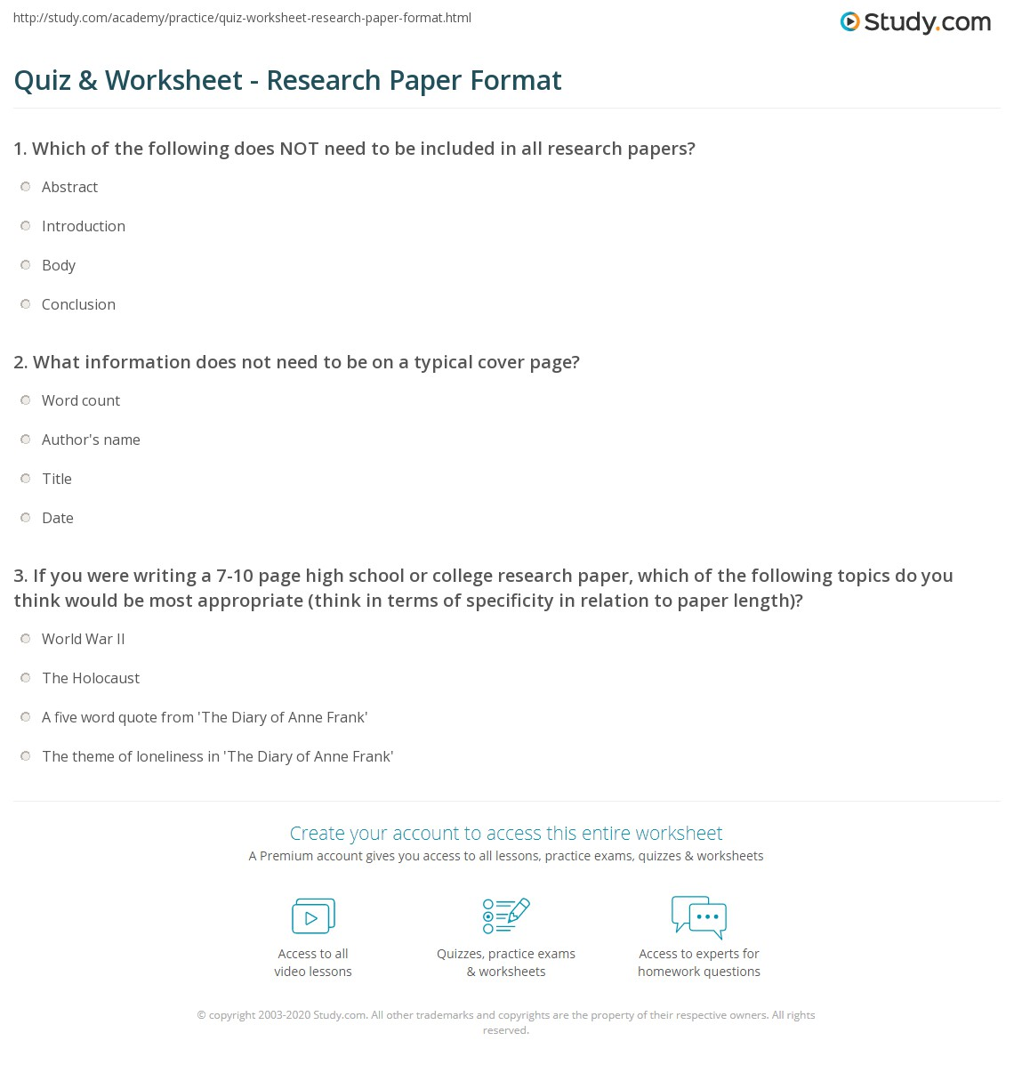 Quiz & Worksheet - Research Paper Format | Study com