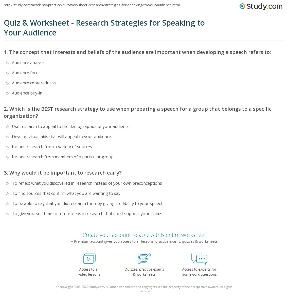 quiz worksheet research strategies for speaking to your audience. Black Bedroom Furniture Sets. Home Design Ideas