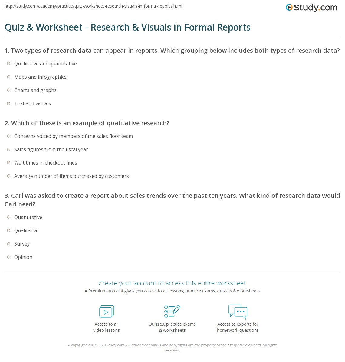 quiz worksheet research visuals in formal reports study com