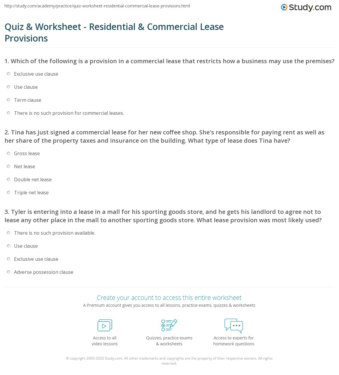 worksheet Lease Worksheet quiz worksheet residential commercial lease provisions study com tina has just signed a for her new coffee shop shes responsible paying rent as well share of the