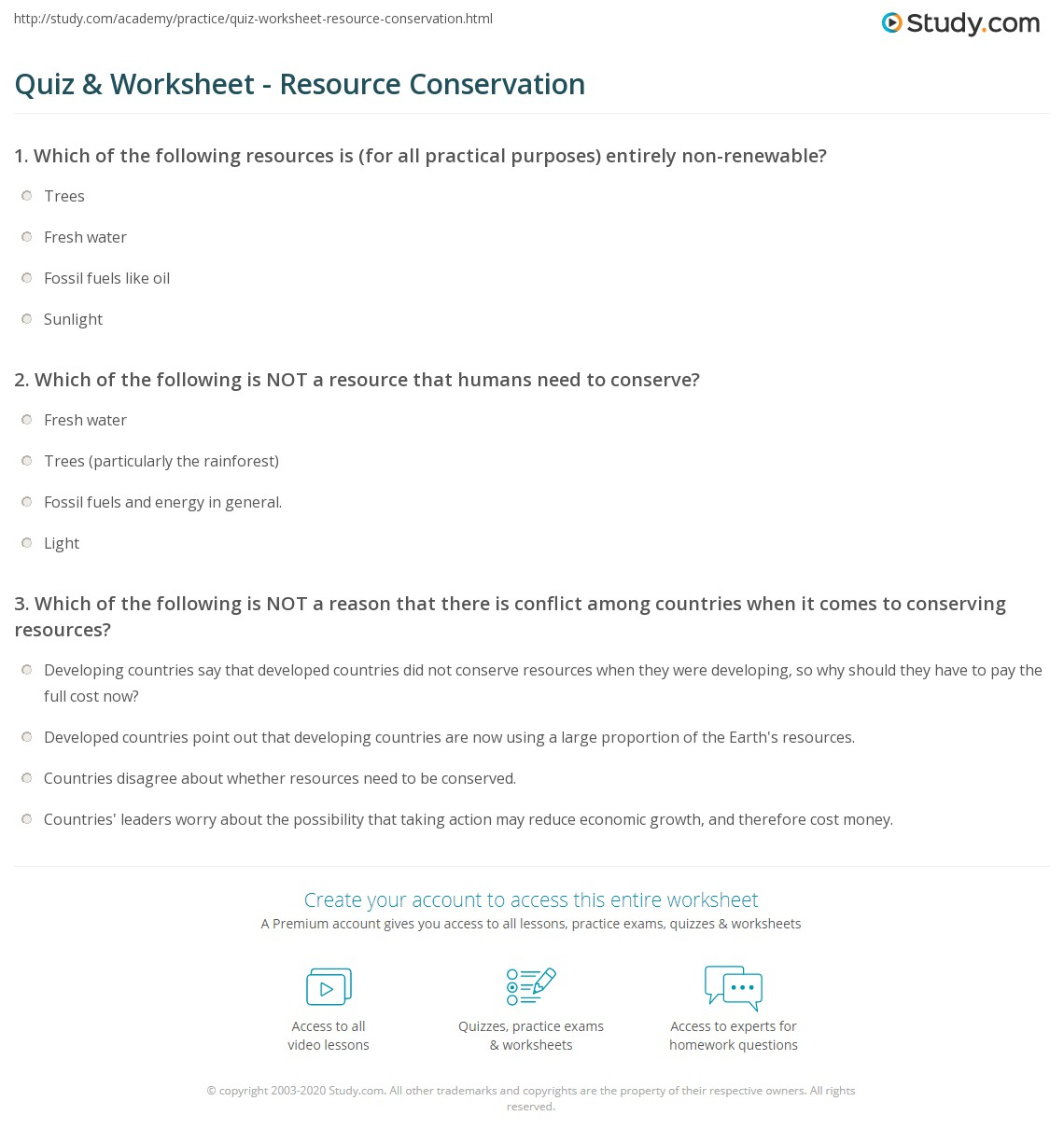 Quiz & Worksheet Resource Conservation