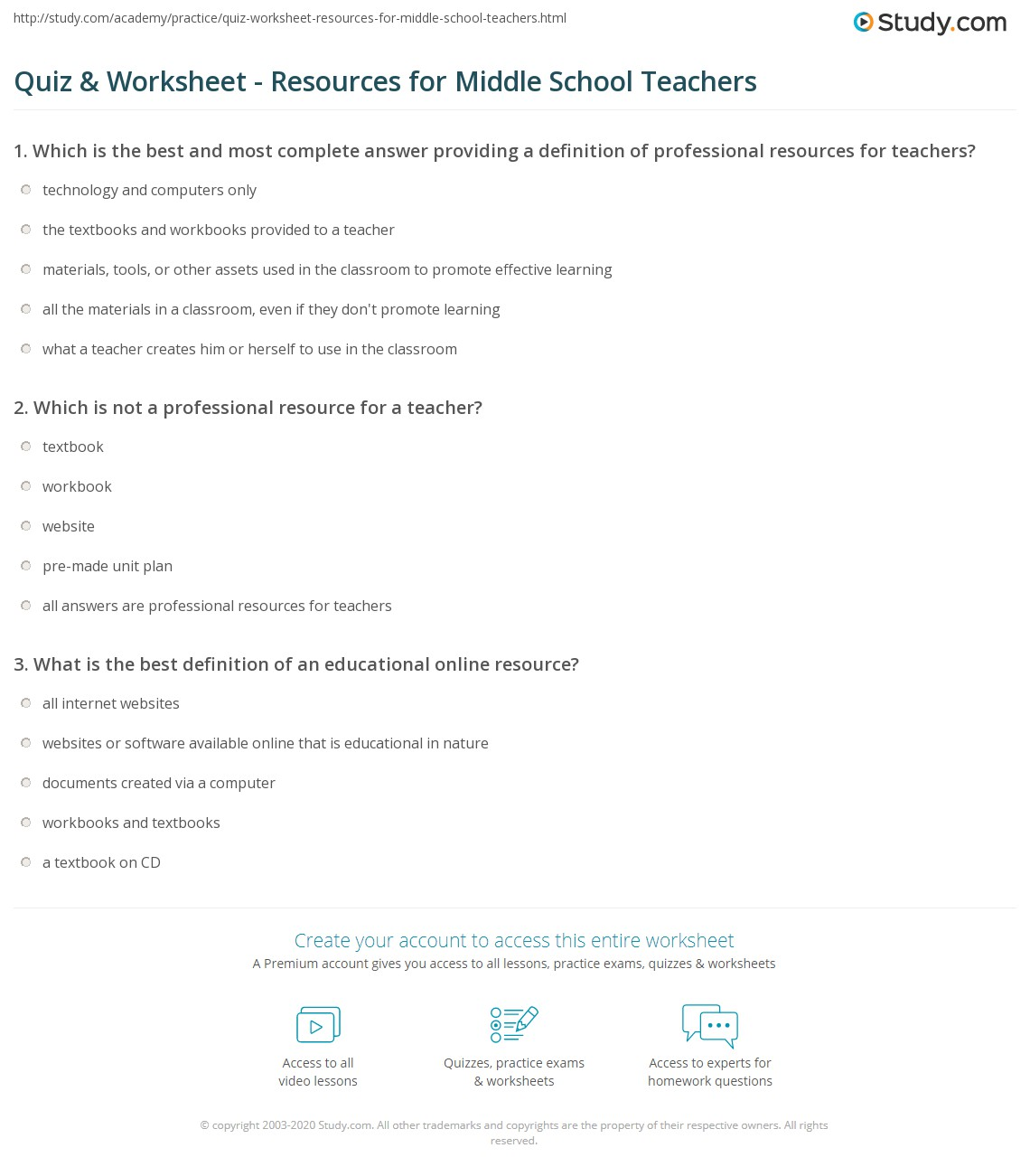 Quiz & Worksheet - Resources for Middle School Teachers | Study.com