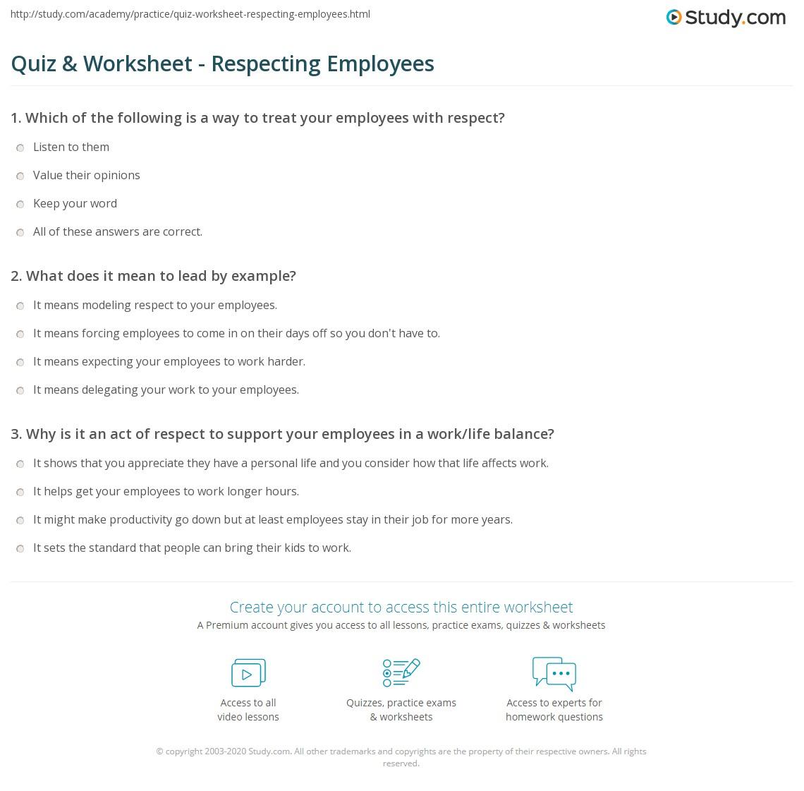 Quiz Worksheet Respecting Employees Study