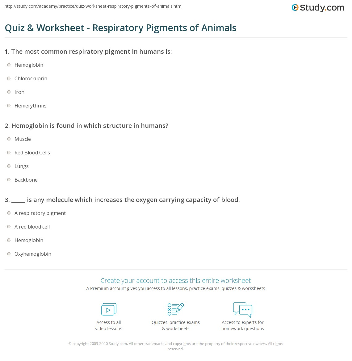 Quiz Worksheet Respiratory Pigments of Animals – Carrying Capacity Worksheet