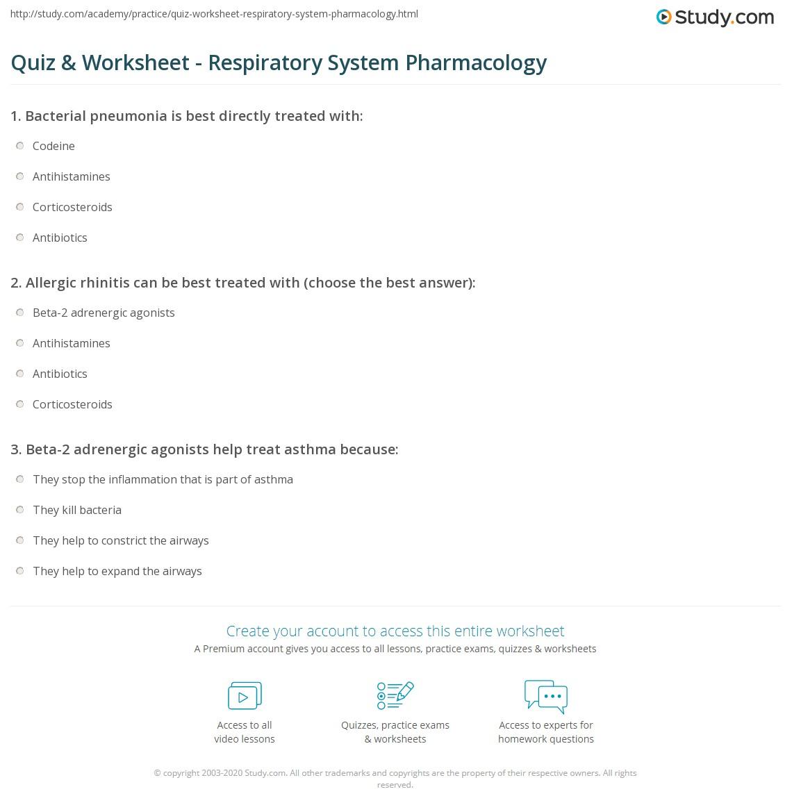worksheet Respiratory System Worksheet Answers quiz worksheet respiratory system pharmacology study com print worksheet