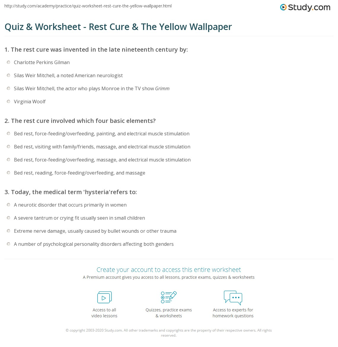 Quiz & Worksheet - Rest Cure & The