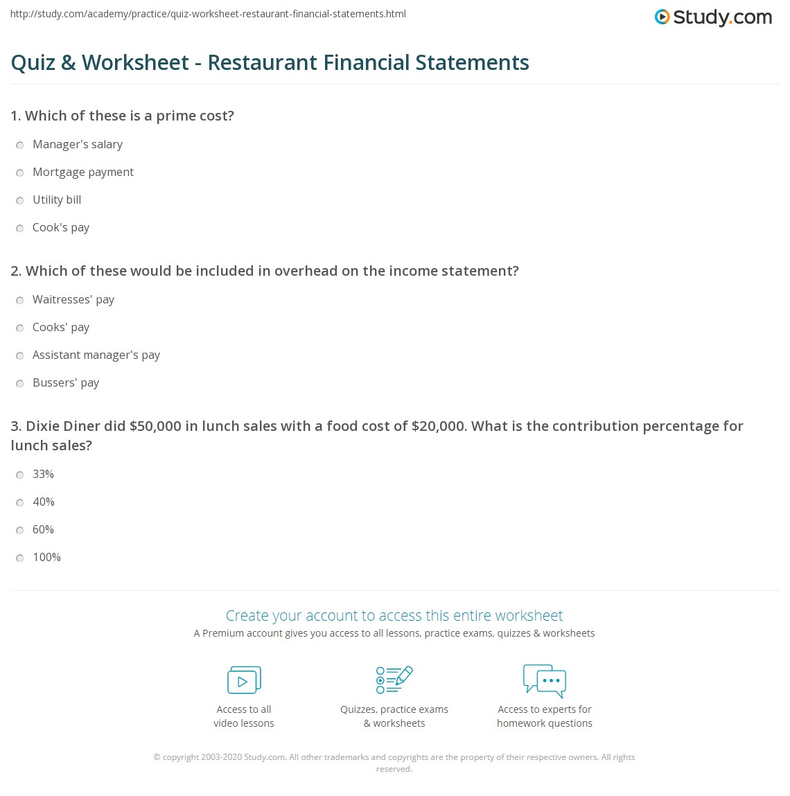 Print Restaurant Financial Statement Sample Analysis Worksheet