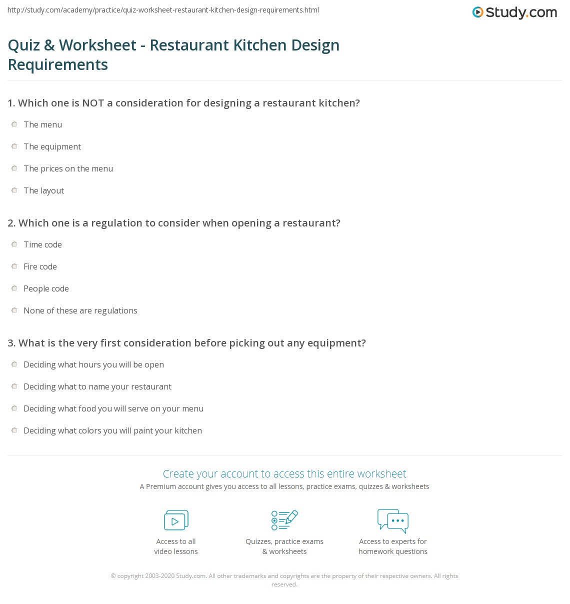 Quiz & Worksheet - Restaurant Kitchen Design Requirements | Study.com