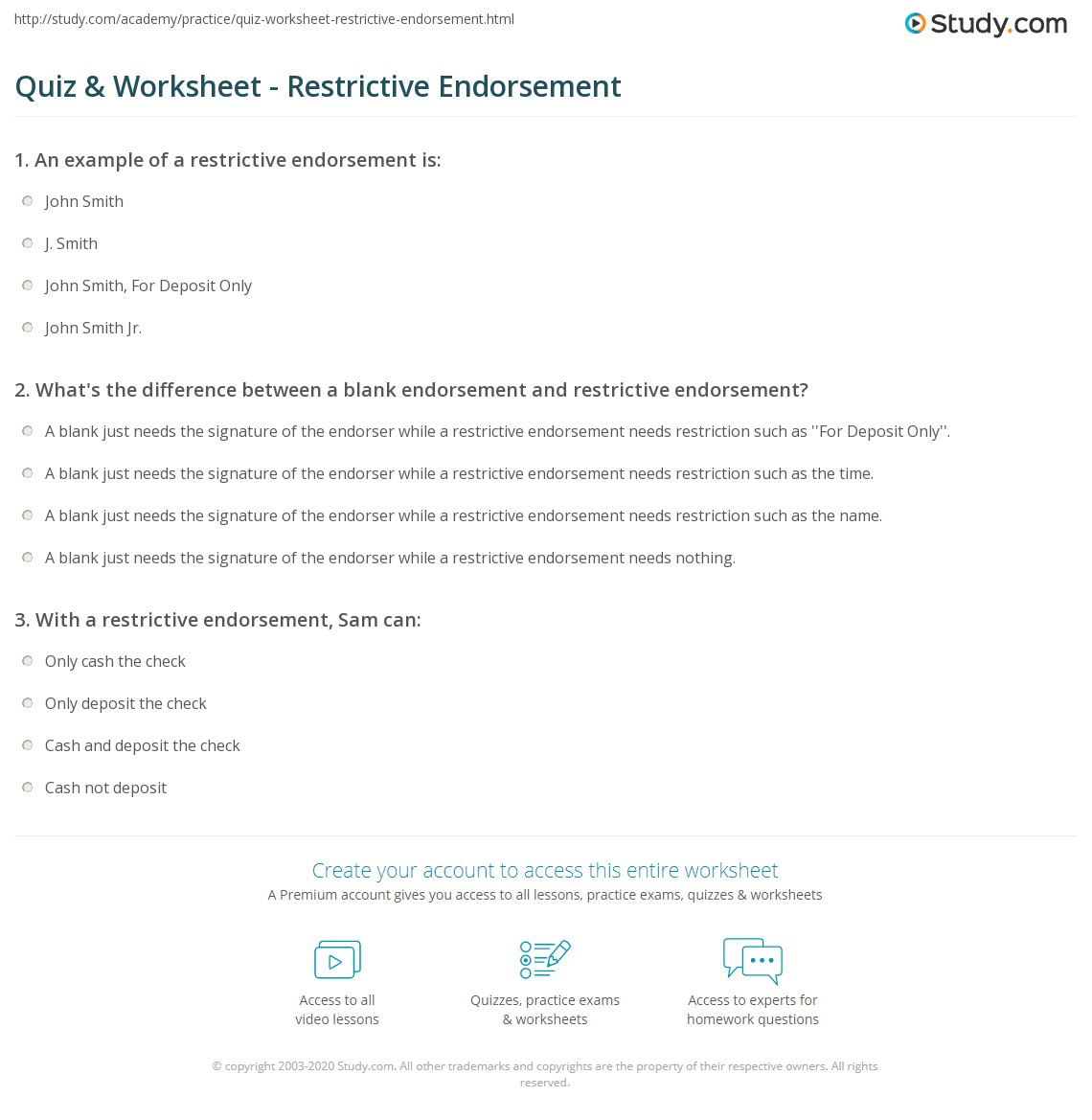 Print Restrictive Endorsement: Definition & Example Worksheet How To Use  Mobile Deposit Cancel A Check