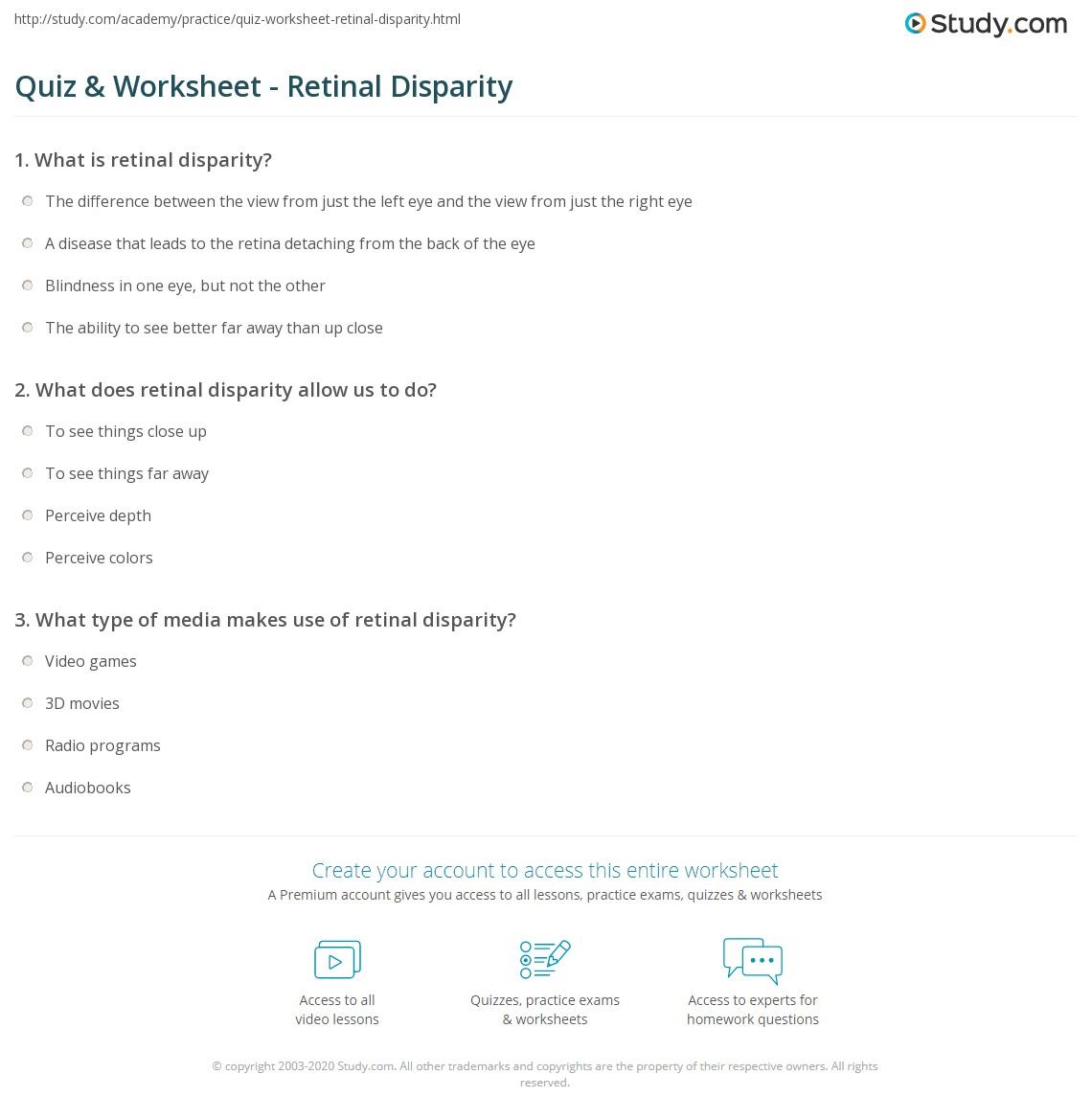 quiz & worksheet - retinal disparity   study