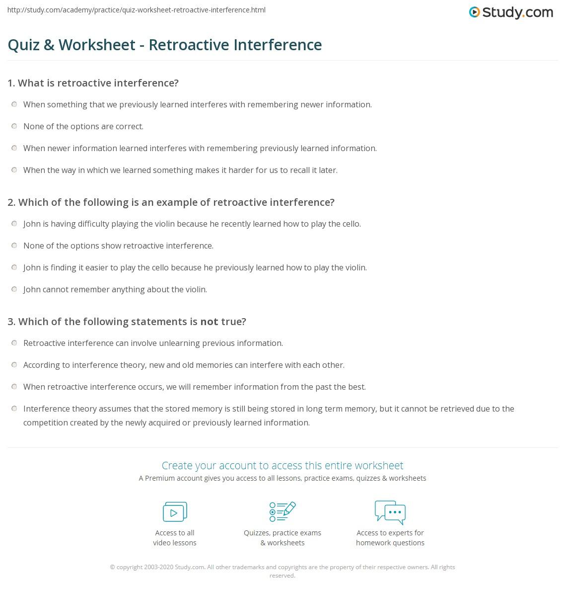 Quiz Worksheet Retroactive Interference Study