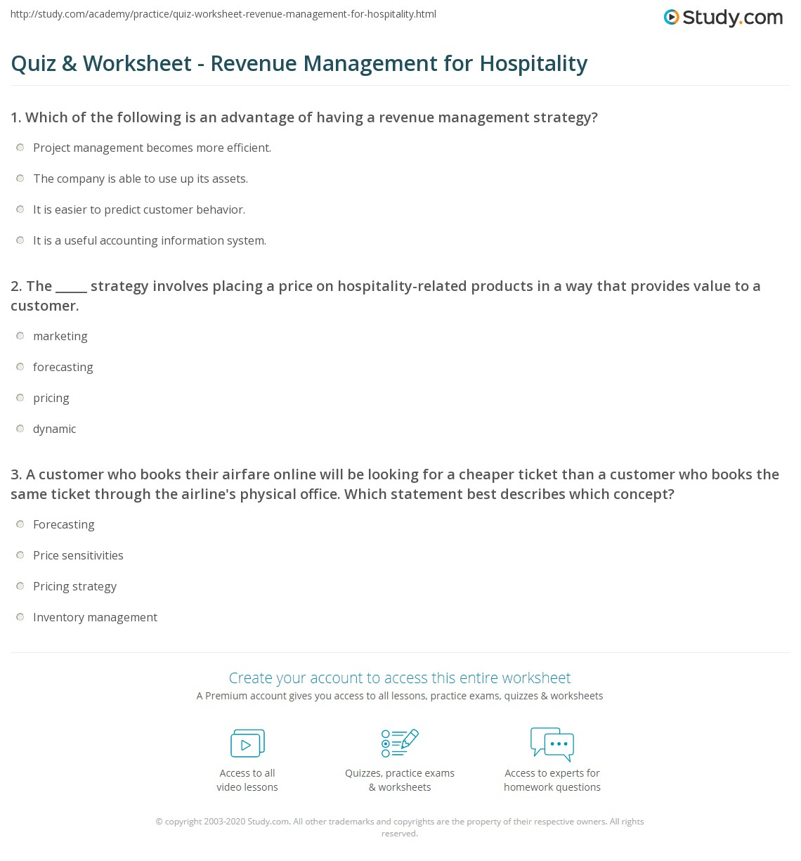 Quiz Worksheet Revenue Management For Hospitality Study