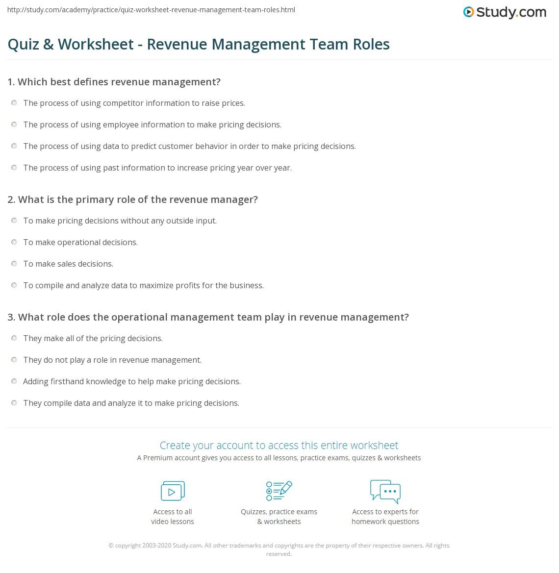 Quiz Worksheet Revenue Management Team Roles Study Com