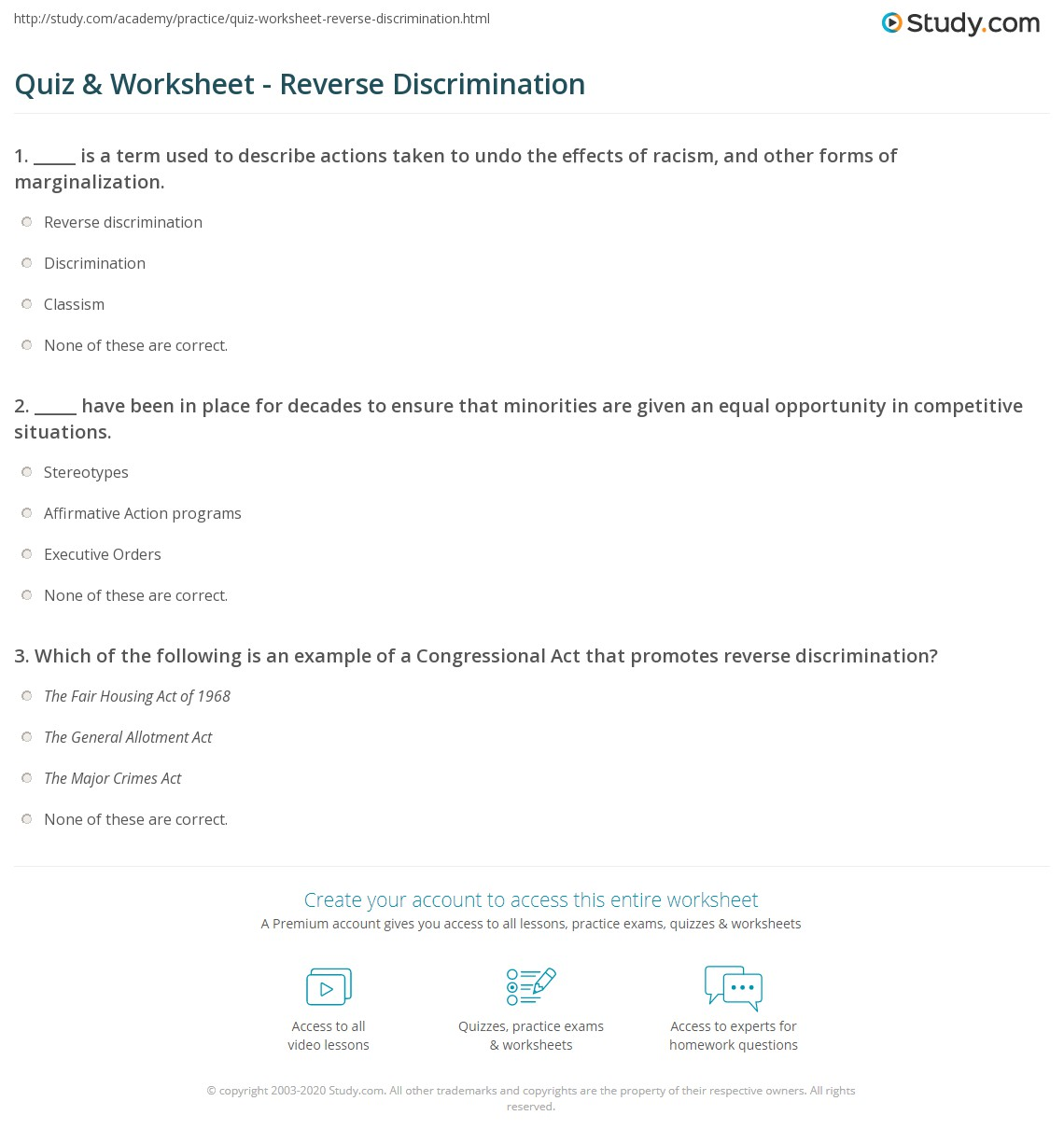 quiz & worksheet - reverse discrimination   study