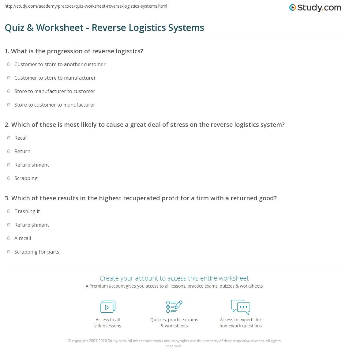 Quiz Worksheet Reverse Logistics Systems Study