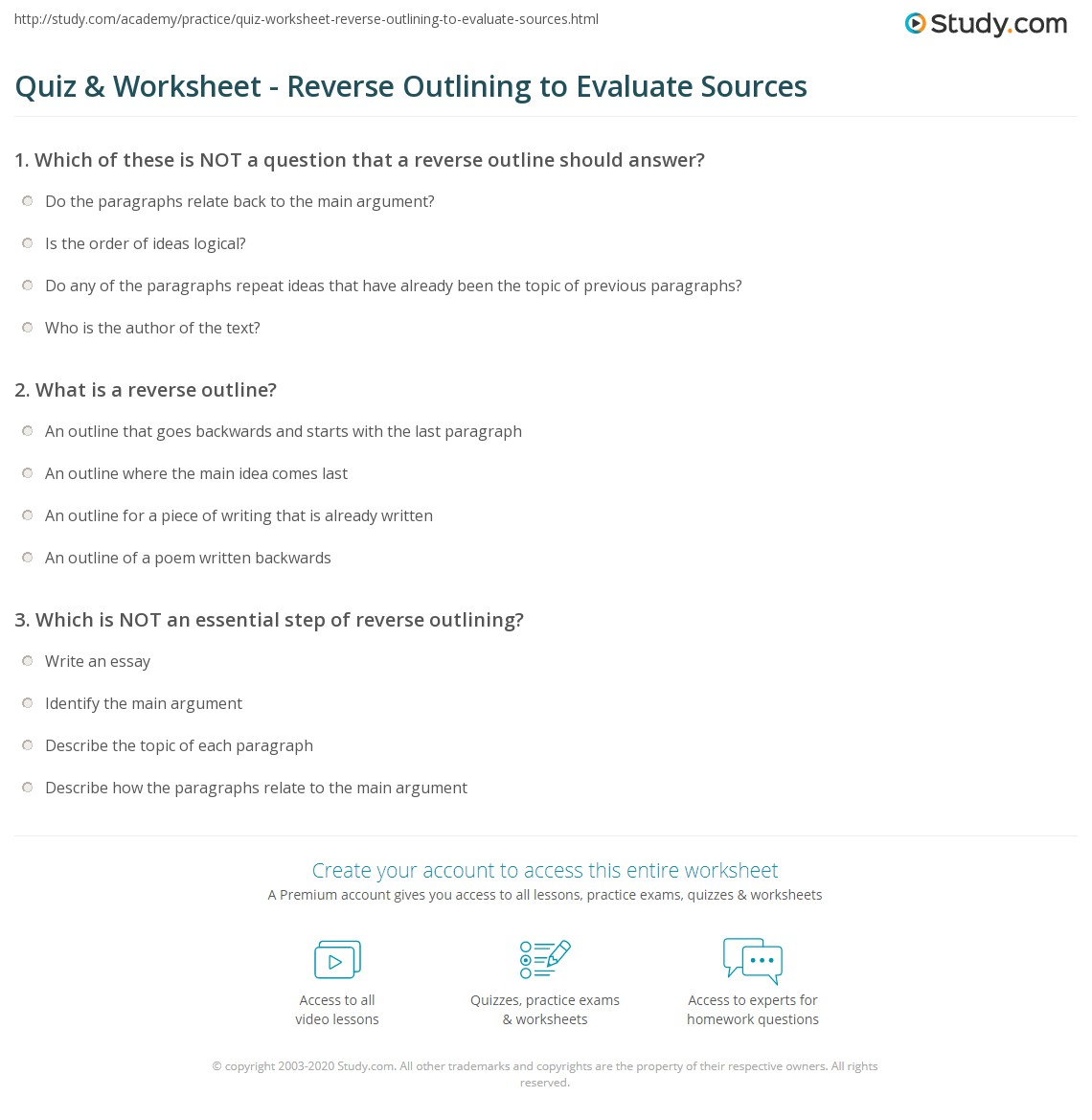 Quiz Worksheet Reverse Outlining To Evaluate Sources