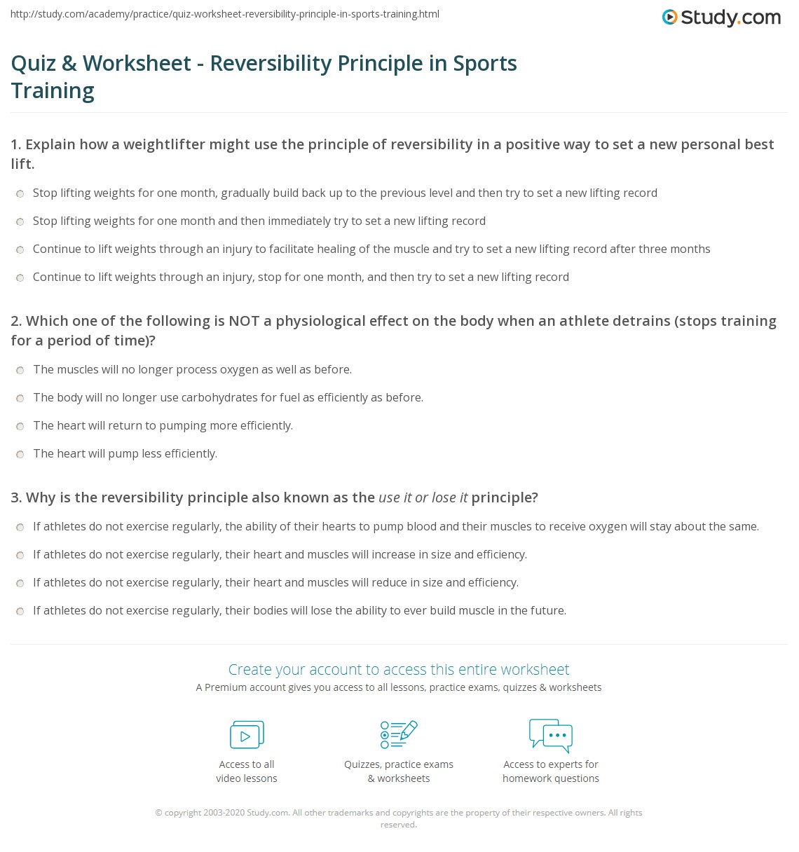quiz worksheet reversibility principle in sports training. Black Bedroom Furniture Sets. Home Design Ideas