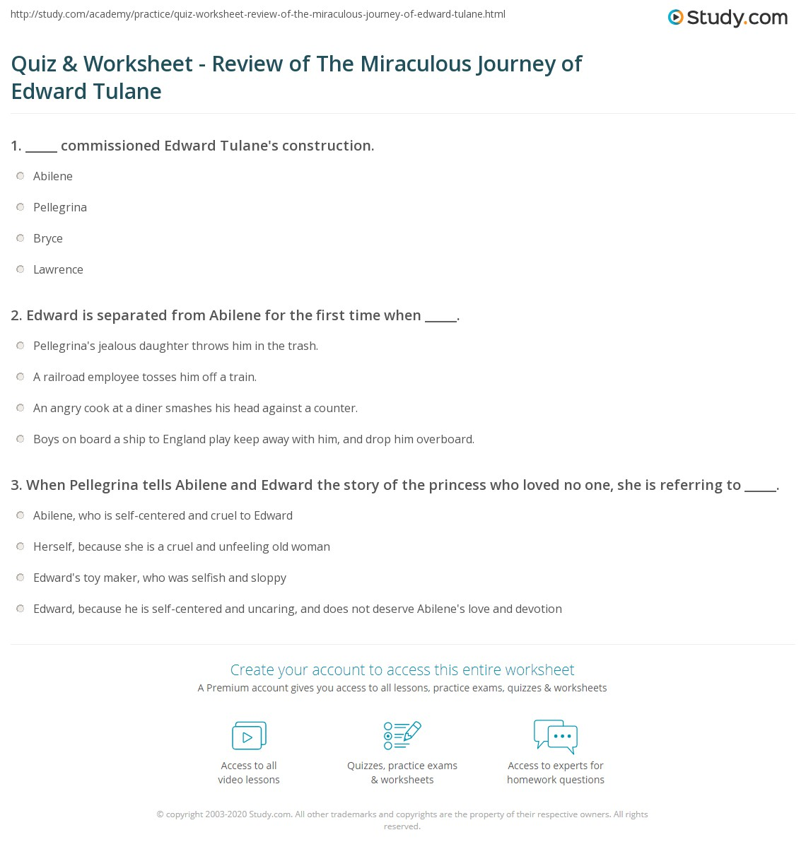 Print The Miraculous Journey of Edward Tulane: Summary & Quotes Worksheet