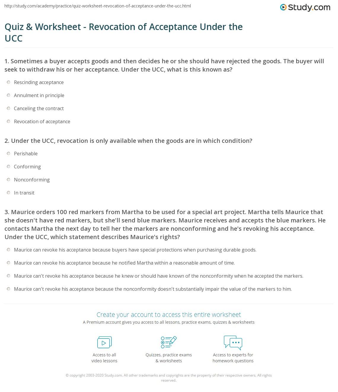 quiz worksheet revocation of acceptance under the ucc com print revocation of acceptance under the uniform commercial code worksheet