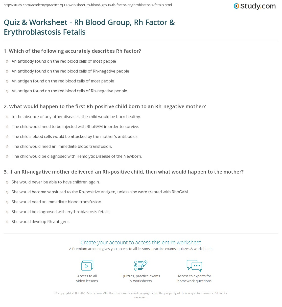 quiz worksheet rh blood group rh factor erythroblastosis fetalis. Black Bedroom Furniture Sets. Home Design Ideas