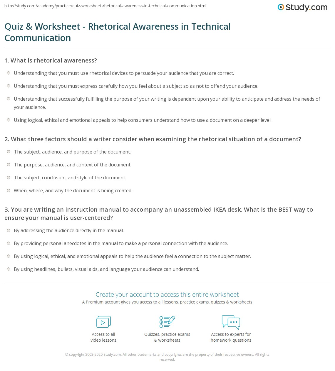 Worksheets Rhetorical Devices Worksheet quiz worksheet rhetorical awareness in technical communication print worksheet