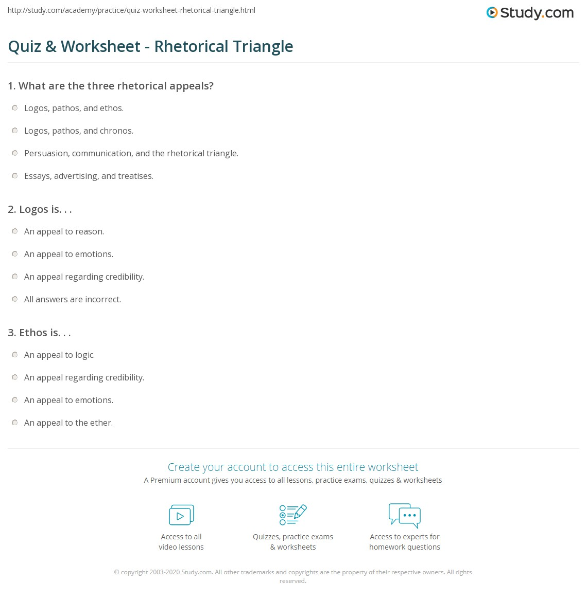 quiz worksheet rhetorical triangle. Black Bedroom Furniture Sets. Home Design Ideas