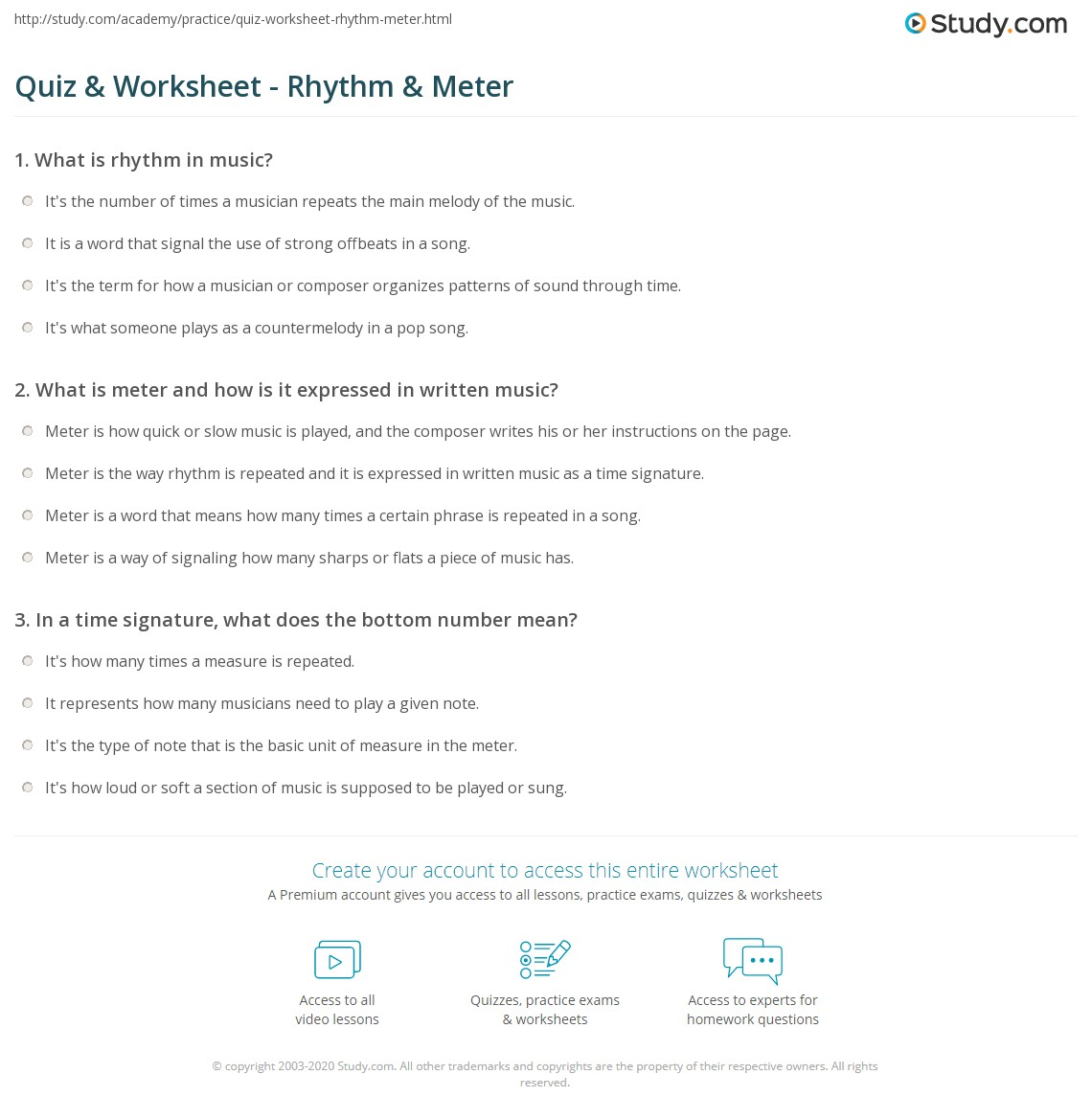 Worksheets Music Theory Rhythm Worksheets quiz worksheet rhythm meter study com print terms styles worksheet