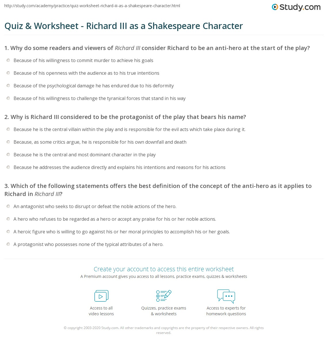 quiz worksheet richard iii as a shakespeare character com print shakespeare s richard iii character analysis worksheet