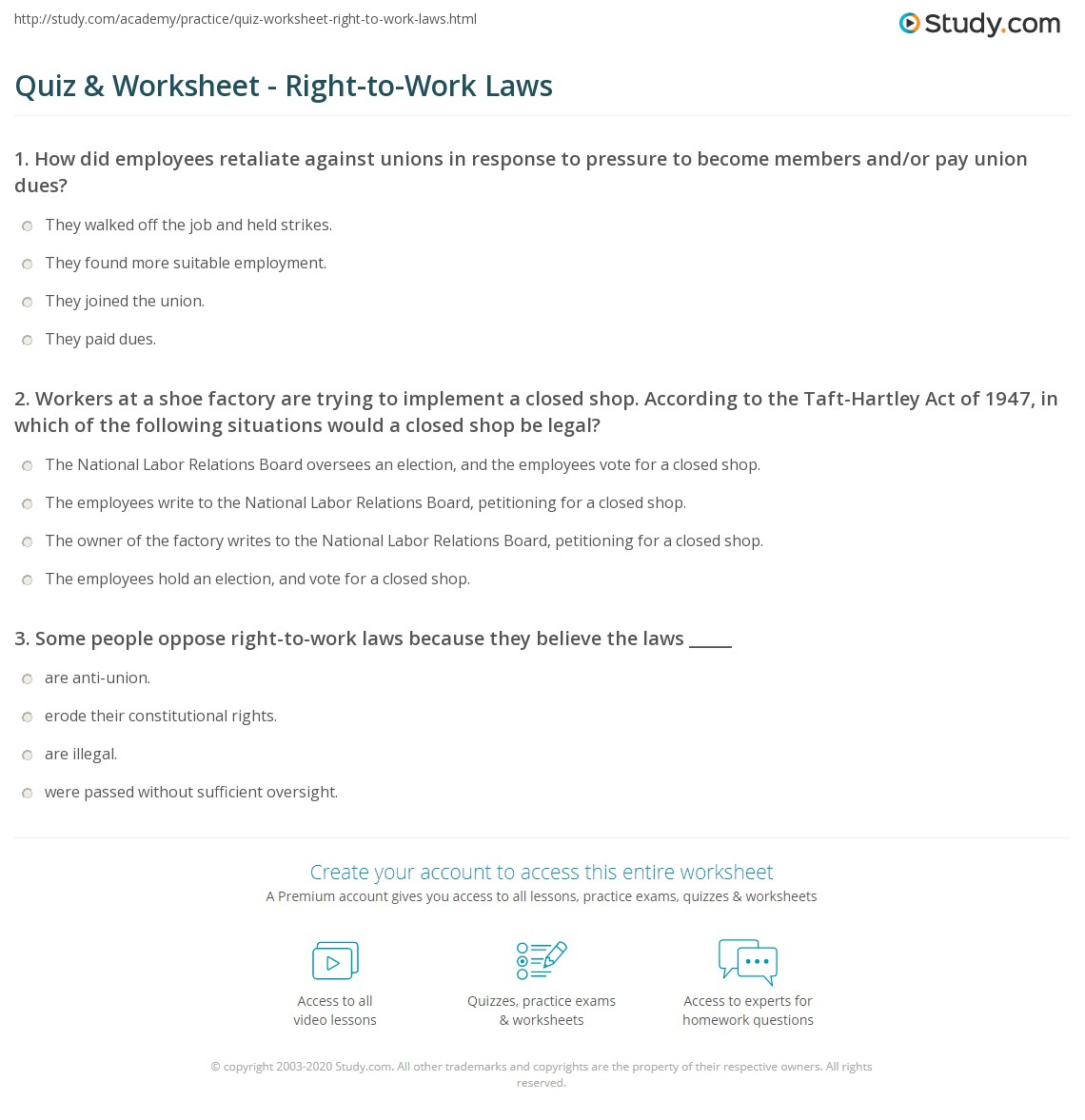 quiz & worksheet - right-to-work laws | study