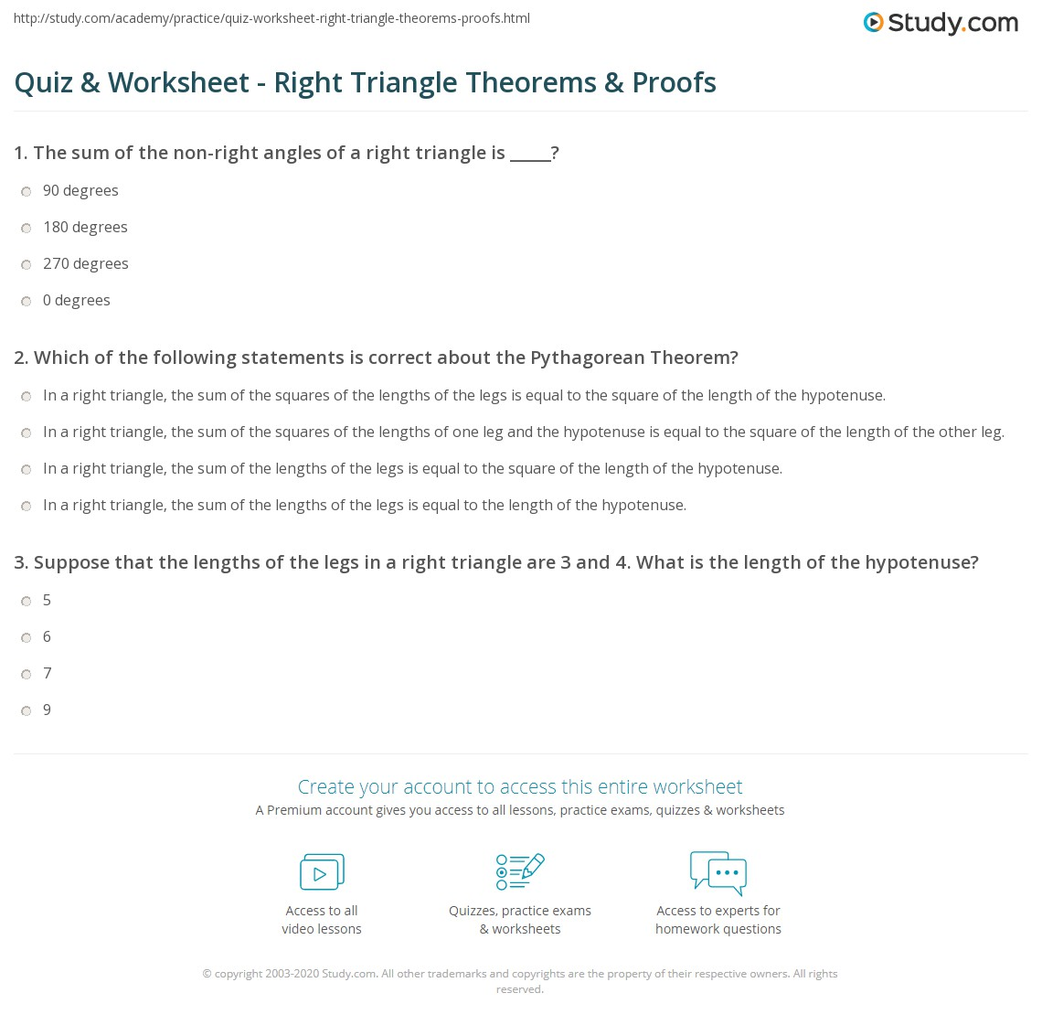 Worksheets Right Triangle Worksheet quiz worksheet right triangle theorems proofs study com print properties of triangles worksheet