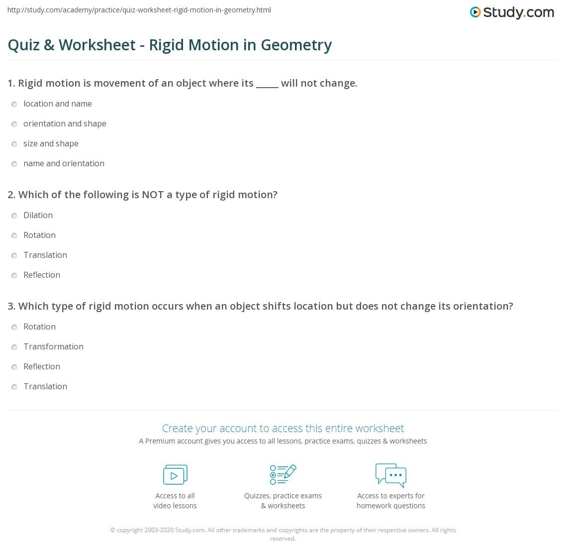 Quiz Worksheet Rigid Motion in Geometry – Dilations Worksheet 8th Grade