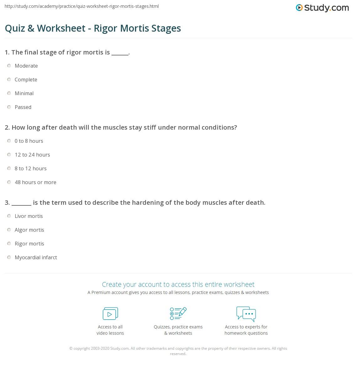Quiz & Worksheet - Rigor Mortis Stages | Study com