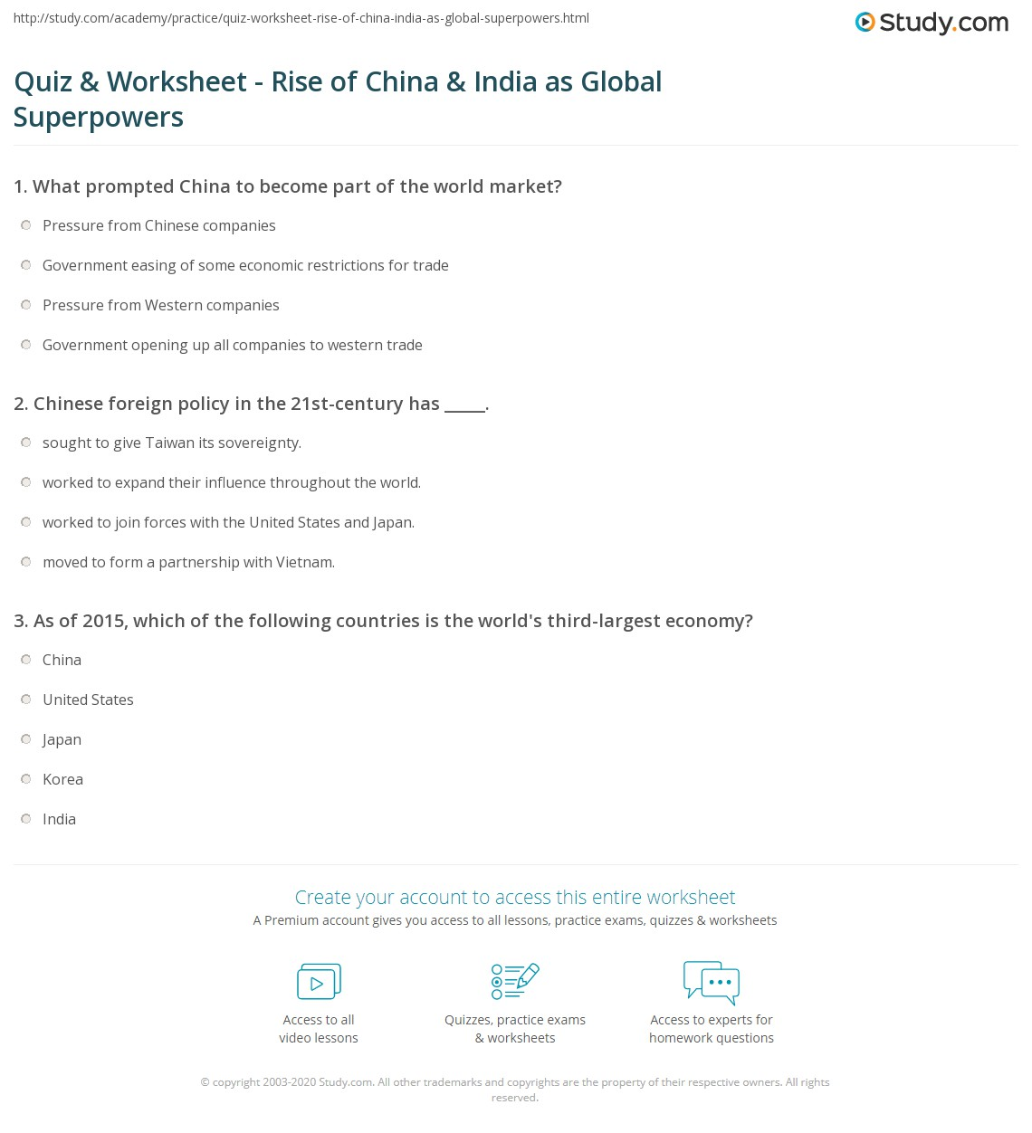 Quiz & Worksheet - Rise of China & India as Global Superpowers ...