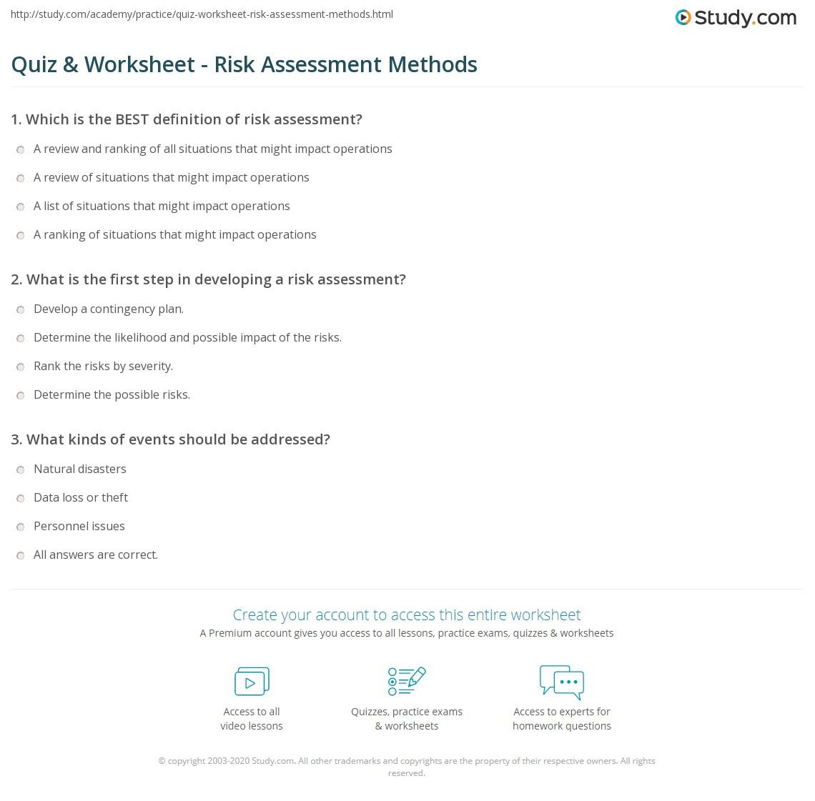 worksheet Risk Assessment Worksheet quiz worksheet risk assessment methods study com print what is a process examples worksheet