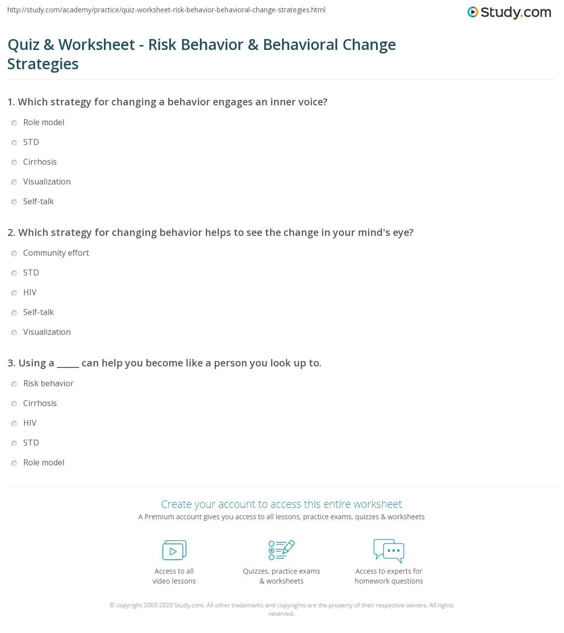 Worksheets Behavioral Worksheets quiz worksheet risk behavior behavioral change strategies print and for focus impact worksheet