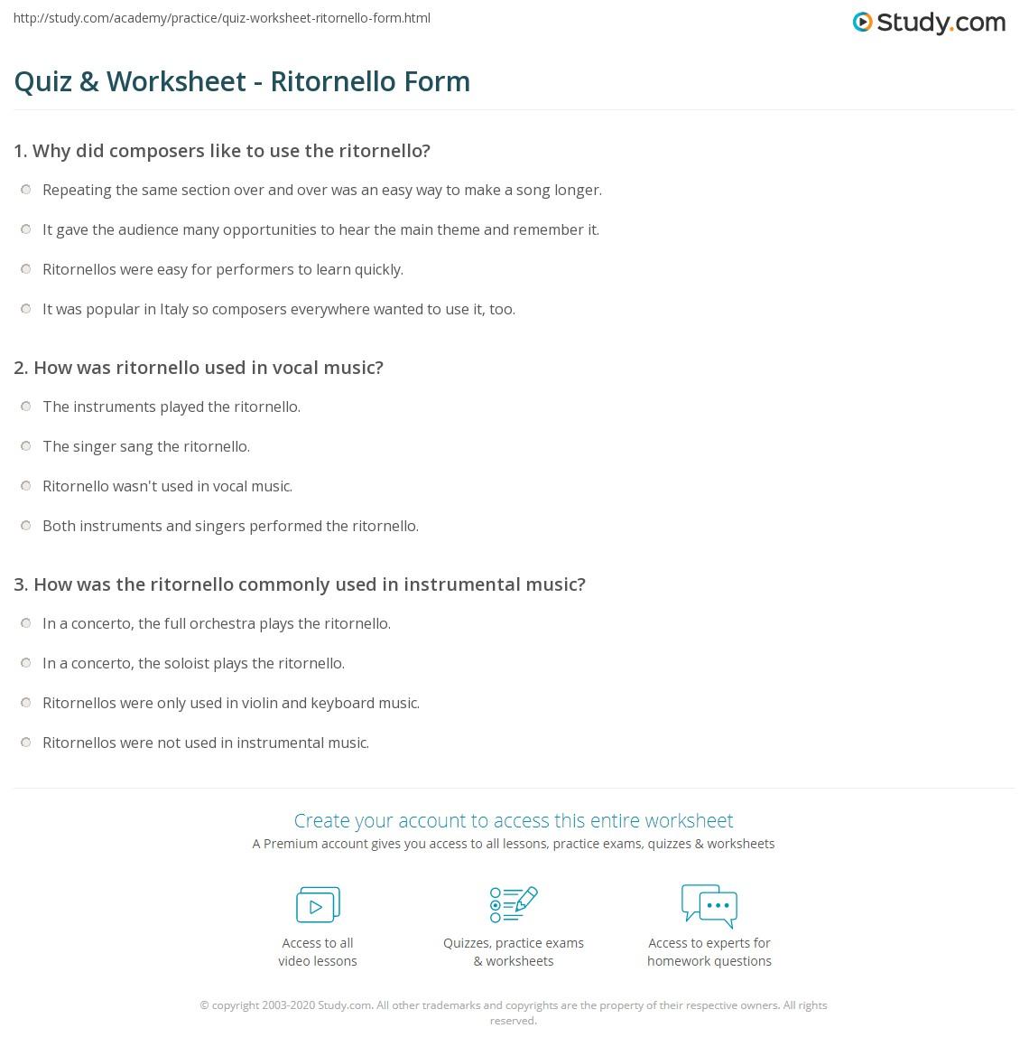 Quiz & Worksheet - Ritornello Form | Study.com