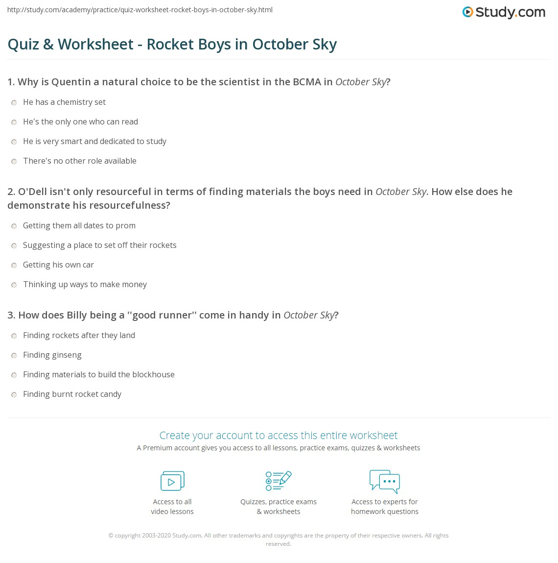 worksheet October Sky Worksheet Answers quiz worksheet rocket boys in october sky study com print worksheet