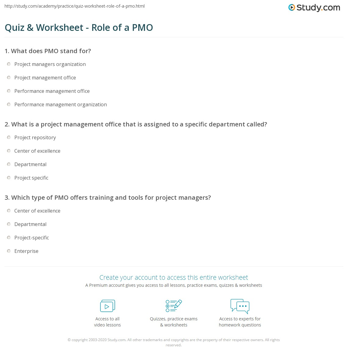 Quiz worksheet role of a pmo study print what is a project management office definition roles worksheet xflitez Image collections