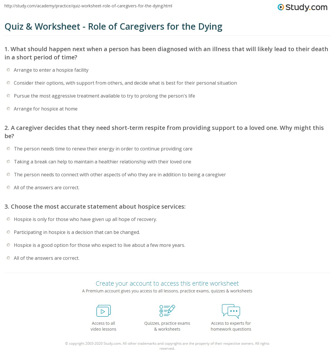 Quiz worksheet role of caregivers for the dying study print caring for the dying caregiver roles respite services worksheet 1betcityfo Choice Image