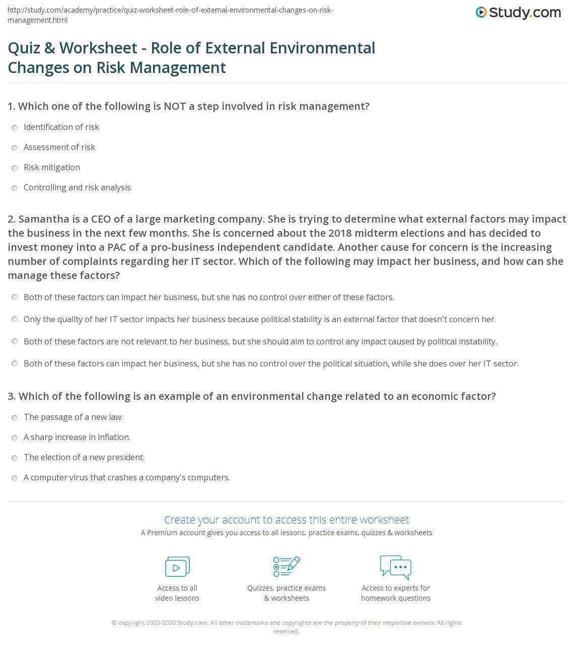 Quiz Worksheet Role of External Environmental Changes on Risk – Risk Management Worksheet