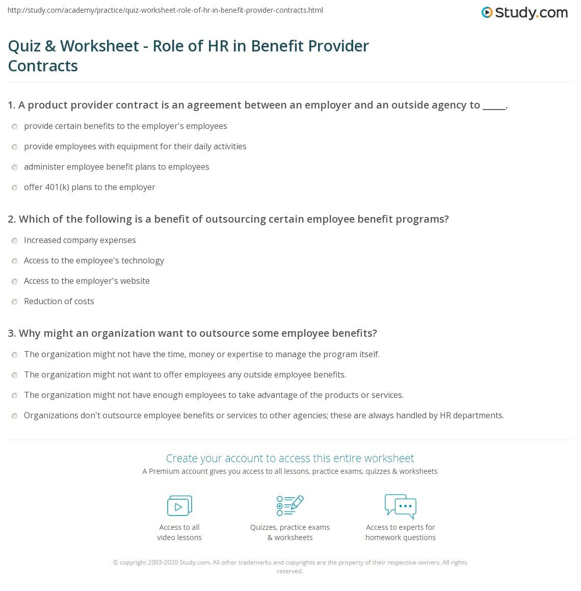 Quiz & Worksheet - Role of HR in Benefit Provider Contracts