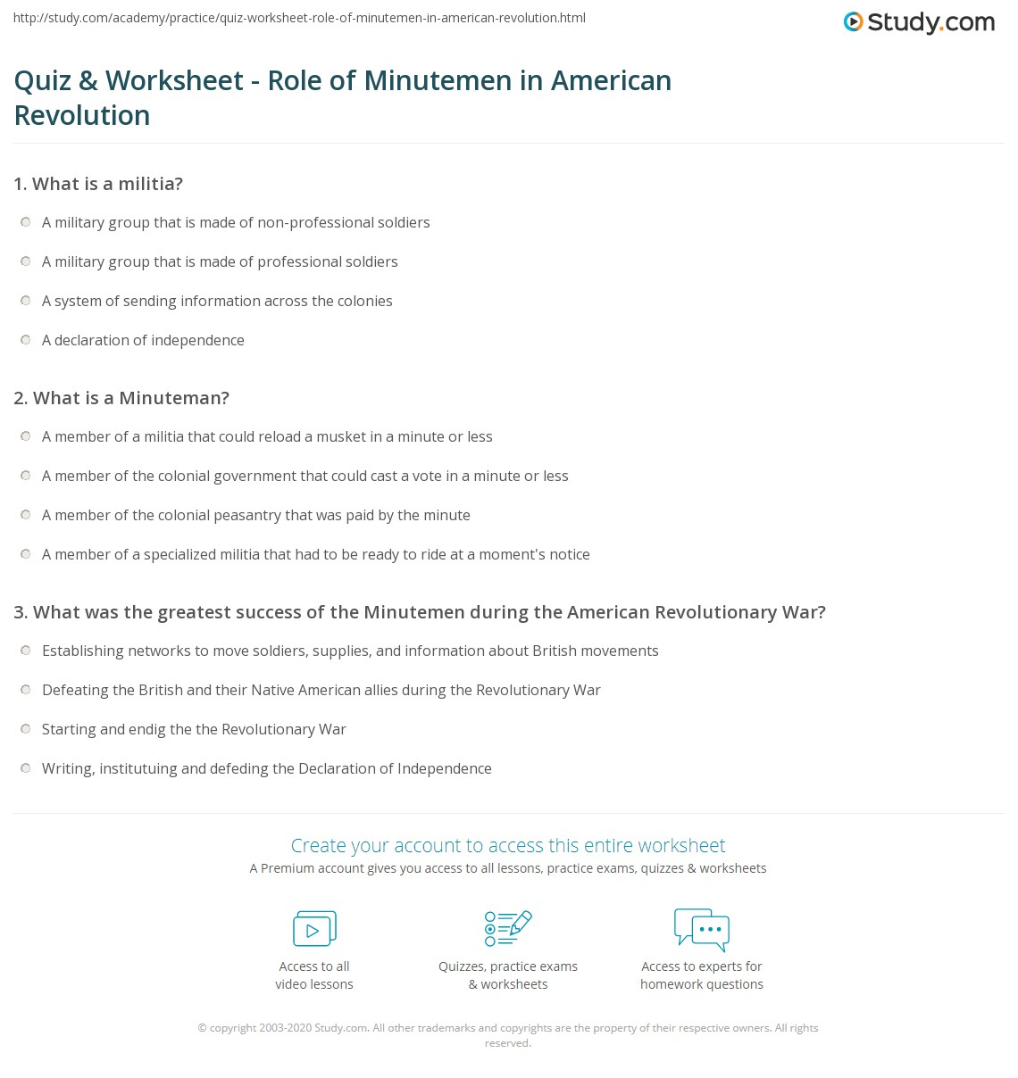 Worksheets American Revolutionary War Worksheets quiz worksheet role of minutemen in american revolution print the revolutionary war definition history worksheet