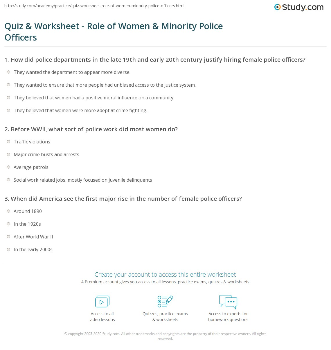 quiz worksheet role of women minority police officers print the history of women minorities in the police profession worksheet