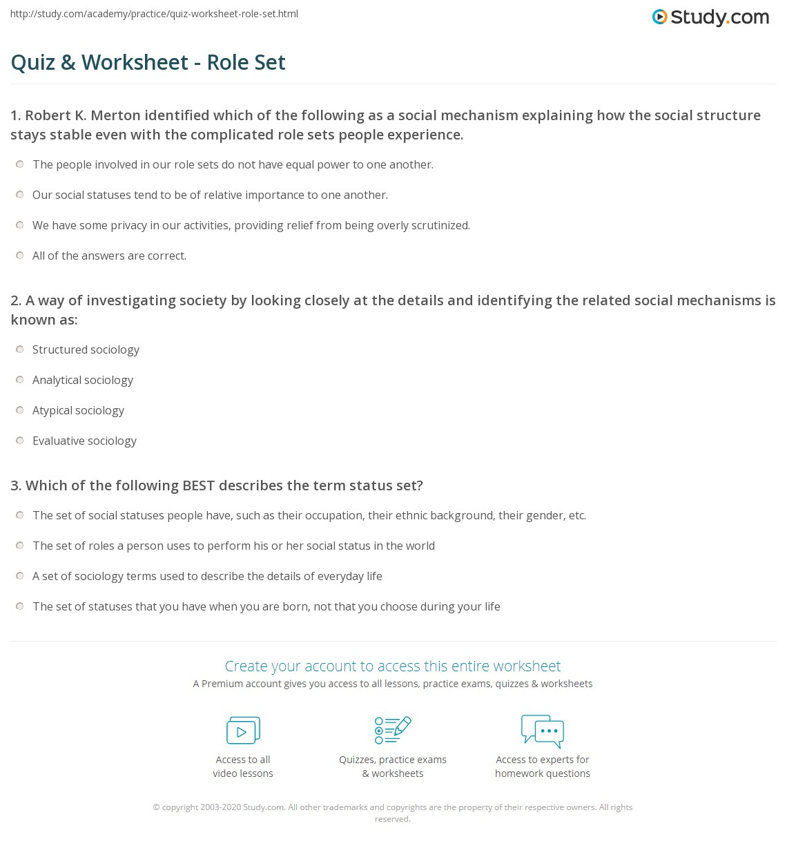 quiz worksheet role set. Black Bedroom Furniture Sets. Home Design Ideas